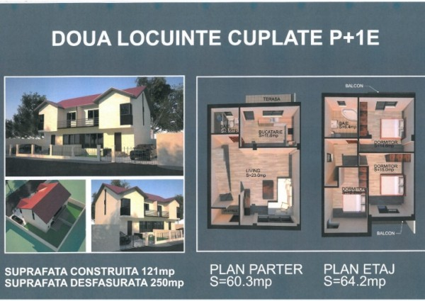 Case de vanzare tip duplex si single, zona Clinceni